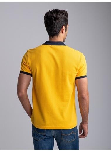 Dufy Su Yeşılı Polo Yaka Düz Erkek T-Shırt - Slım Fıt Sarı